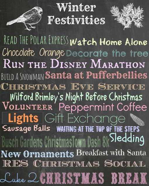 Winter Festivities list 2013