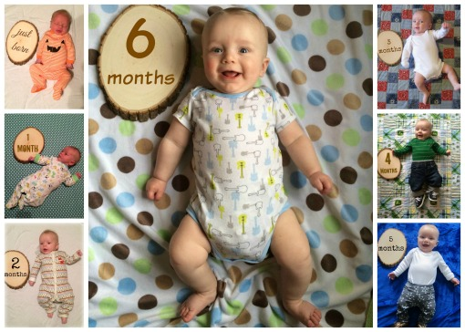 Sage - 6 month onesie collage