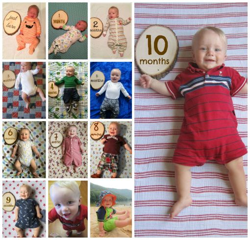 Sage - 10 months onesie collage