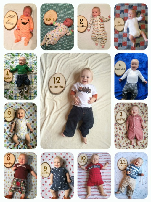 Sage 12 month birthday collage - photos by Ashley Bartley